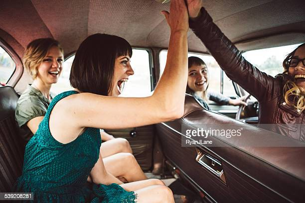 Girl Friends Having Fun on Road Trip