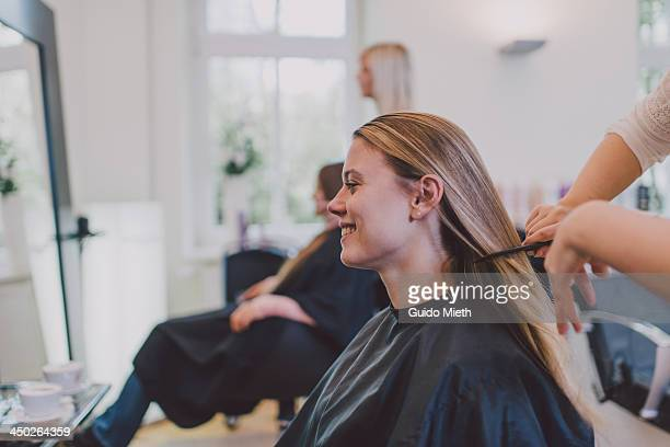 Girl getting new haircut