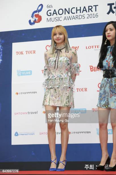 Girl group BLACKPINK attends the 6th Gaon Chart KPop Awards on February 22 2017 in Seoul South Korea