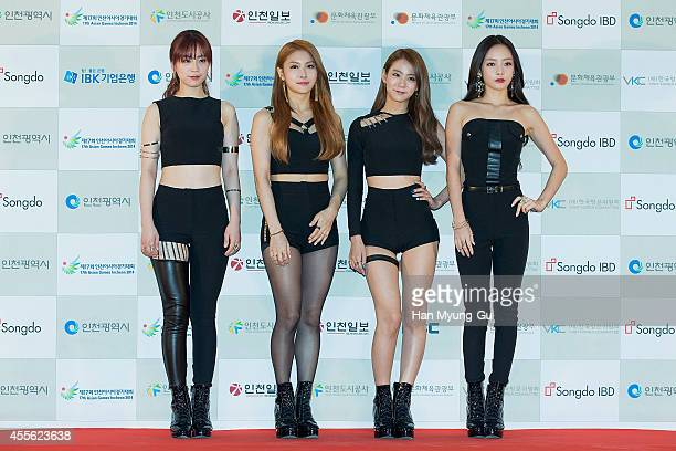 Girl group KARA attends the 2014 Incheon KPop Concert on September 17 2014 in Incheon South Korea