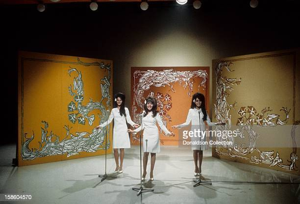 Girl group The Ronettes perform on the NBC TV music show 'Hullabaloo' in April 1965 in New York City New York