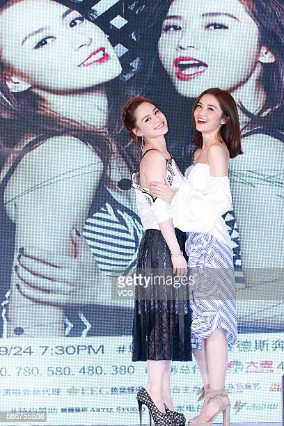 Girl group Twins attend the press conference of their 2016 LOL Concert Shanghai tour on August 4 2016 in Shanghai China