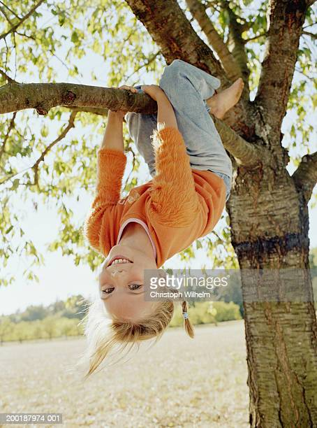 Girl (8-10) hanging upside down from tree, smiling, portrait