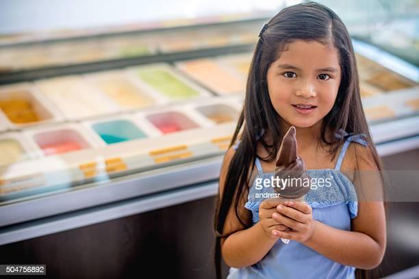 Girl having a chocolate ice cream