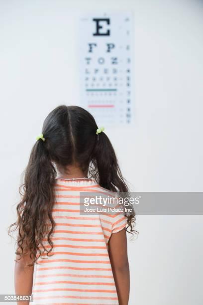 Girl having eye exam in doctor's office