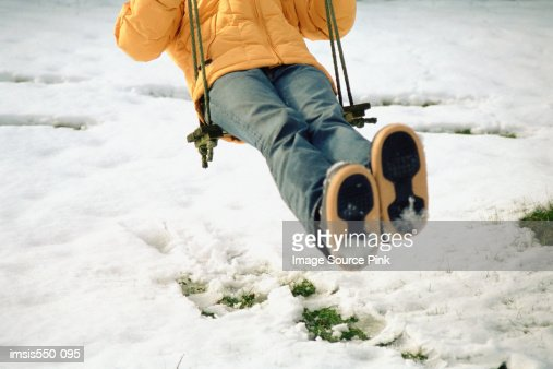 Girl having fun in the snow : Foto de stock