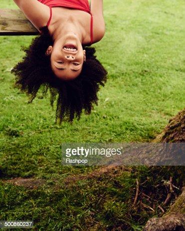 Girl having fun on a swing
