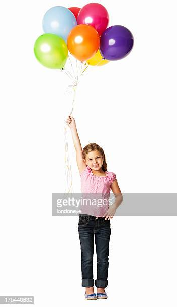 Girl Holding a Bunch Of Balloons - Isolated