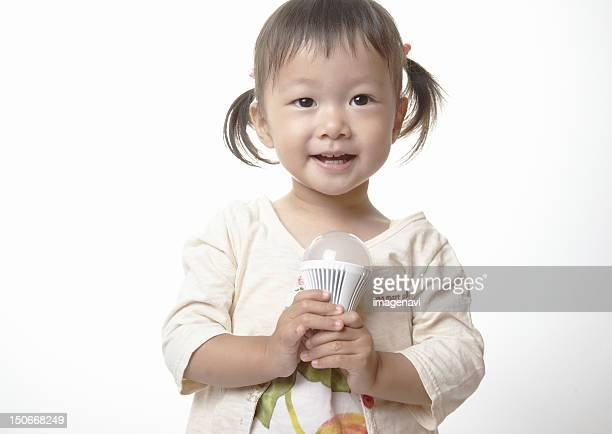 Girl holding a LED bulb