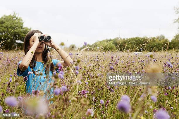 A girl holding binoculars, a young bird watcher standing in a meadow of tall grass and wild flowers.