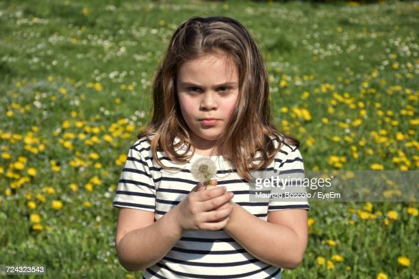 Girl Holding Dandelion While Standing On Field