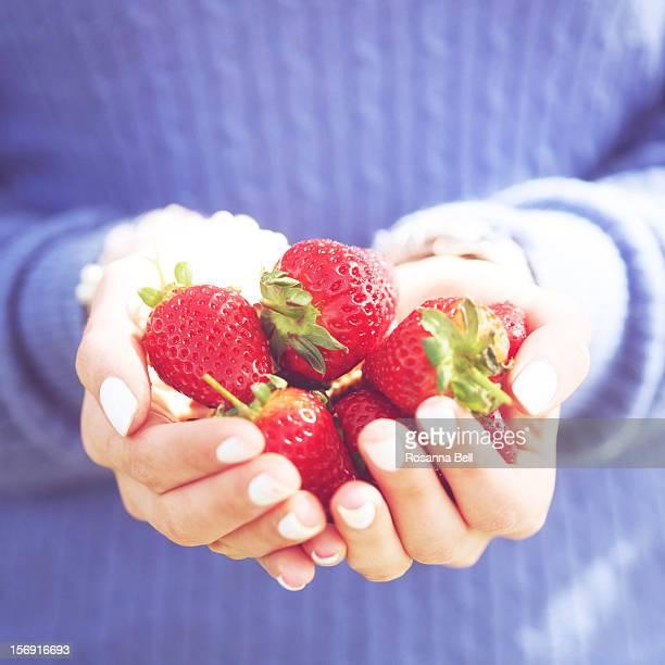 Girl holding handpicked strawberries in hands