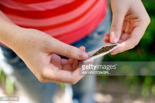 Girl holding marijuana in hand , close-up