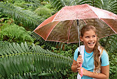 Girl Holding Umbrella in Forest