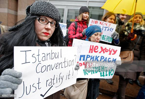 A girl holds a poster reading quot Istanbul Convention Just ratify it quot during protest of human rights activists against violence and injustices...
