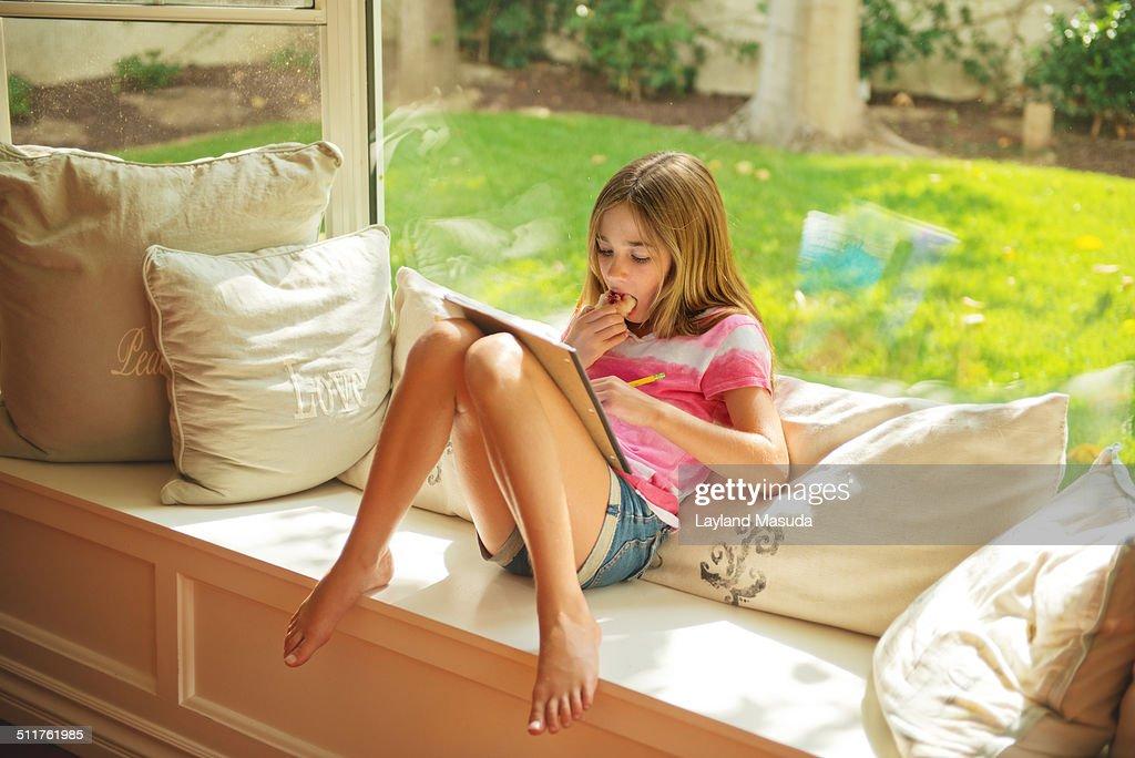 Girl - Homework - Window Seat