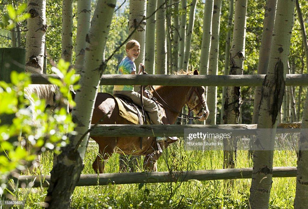 Girl horseback riding : Stock Photo