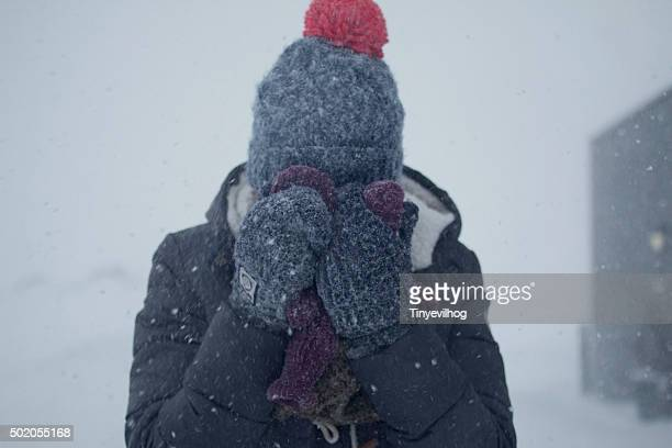 girl in a blizzard
