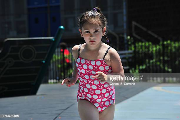 Girl in bathing suite in the park