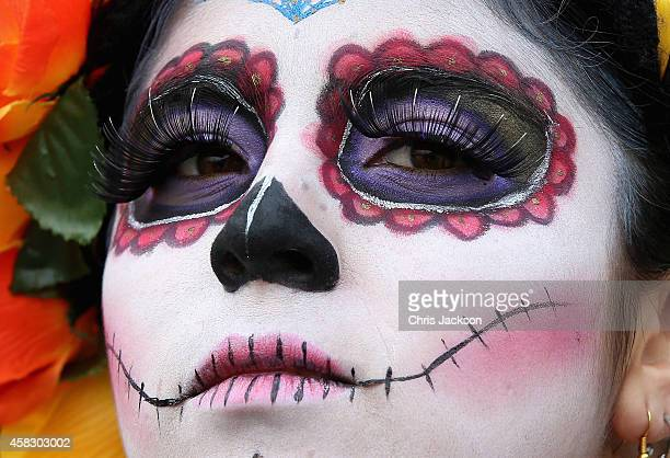 A girl in costume in Real del Monte on the 'Day of the Dead' on November 2 2014 in HidalgoMexico The Royal Couple are on the first day of a four day...