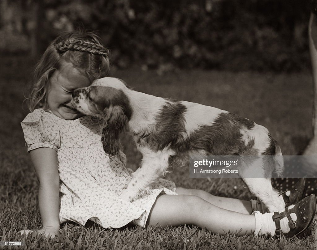 Girl In Cotton Print Dress And Sandals Sitting Outside On Grass, With Head Down, Squinting While A Cocker Spaniel Is Licking Her Face.. : Stock Photo