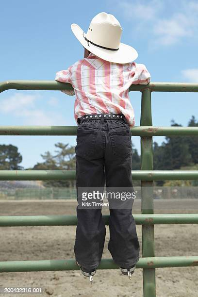 Girl (3-5) in cowgirl attire, leaning over fence, rear view