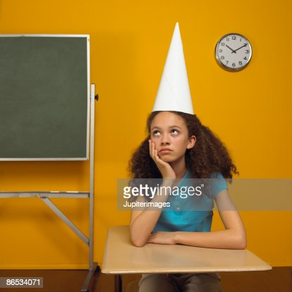 Girl in dunce cap