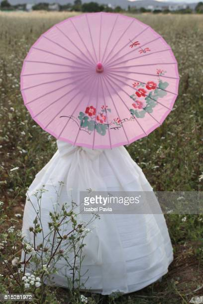 Girl in First Communion Dress with Umbrella