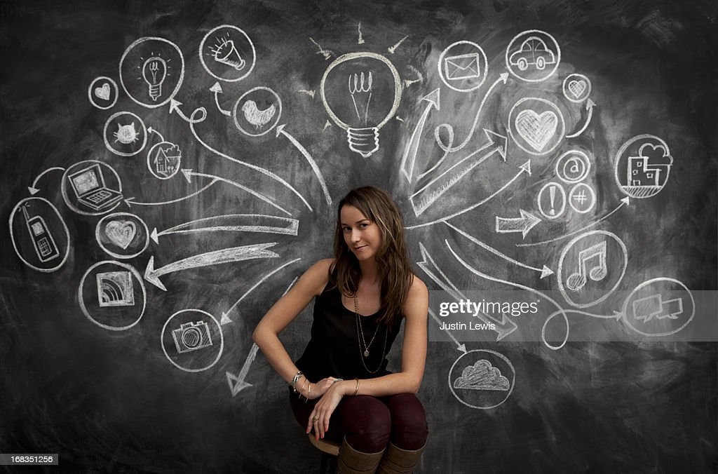 Girl in front of chalkboard with social media icon : Stock Photo