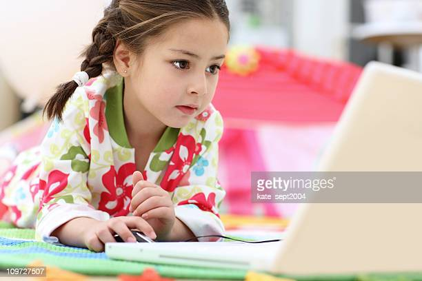 Girl in front of laptop
