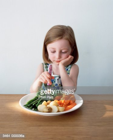 Girl in Front of Plate of Food : Photo