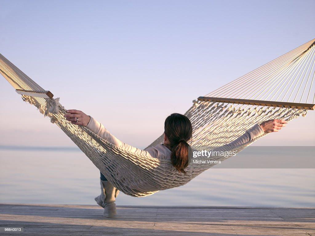 girl in hammock : Stock Photo