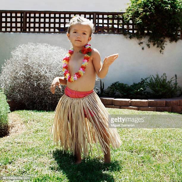 Girl in Hula skirt