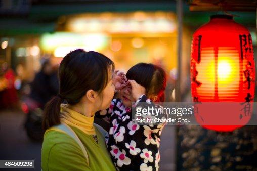girl in night market : Stock Photo