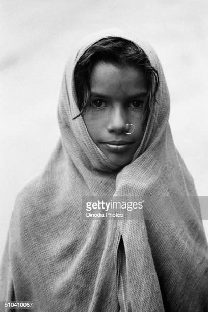 Girl in nose ring with ghunghat Badrinath Garhwal Uttarakhand India 1978