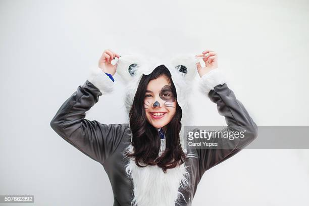 girl in racoon costume