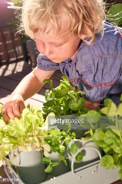 Fille dans le jardin de balcon