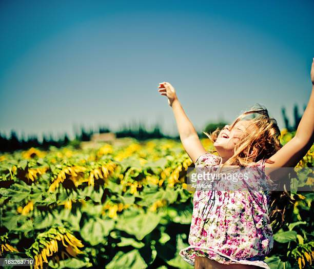 Girl in the field of sunflowers