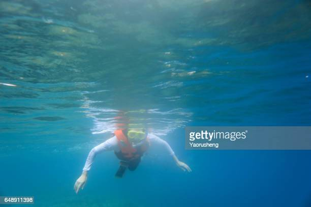 girl in the mask under the water, engage in snorkeling