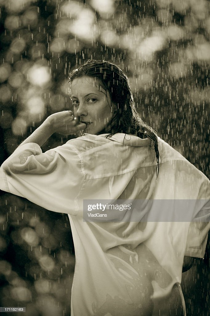 girl in the rain : Stock Photo