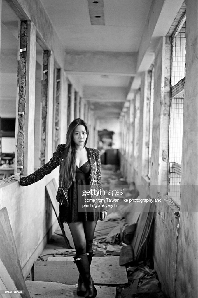 A girl in the ruin : Stock Photo