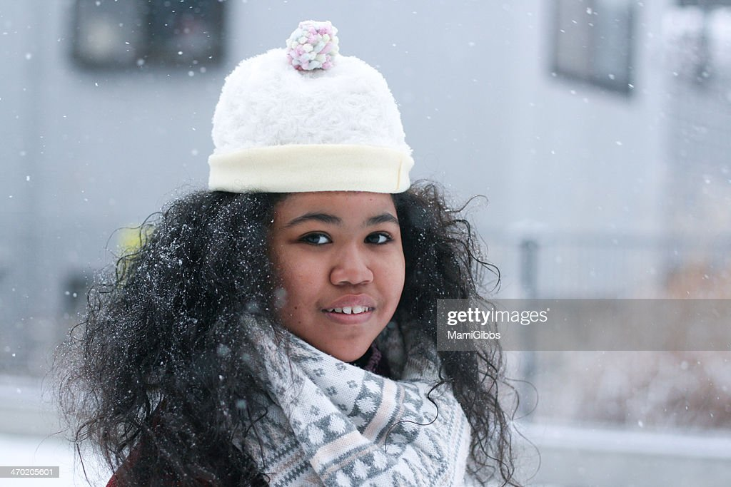 Girl in the snow park : Stock Photo