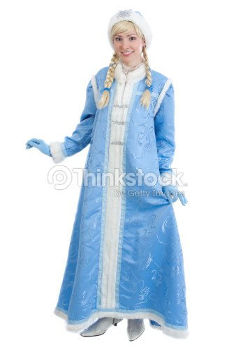 Girl In Traditional Russian Christmas Costume Of Snegurochka Snow Maiden Stock Photo