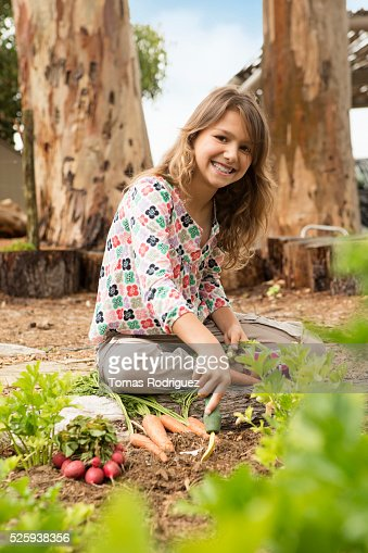 Girl (8-9) in vegetable garden : Stock Photo