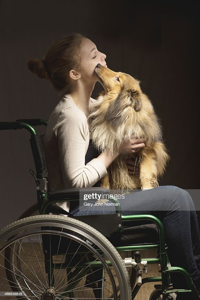 girl in wheelchair with her dog on lap : Stock Photo