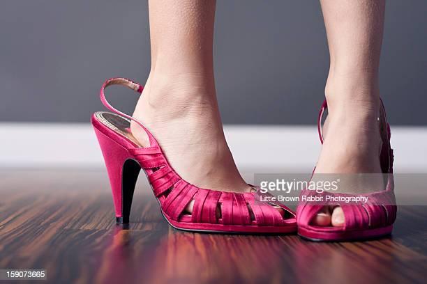 Girl in Women's Shoes