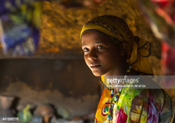 Girl inside her house in a traditional Argoba stone houses village on January 12 2017 in Koremi Ethiopia