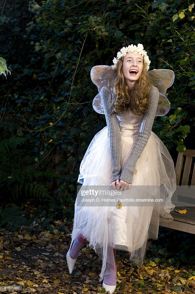 A girl is dressed as a woodland Fairy