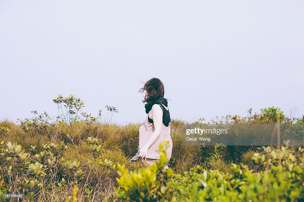 A girl is finding her way : Stock Photo