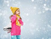 cute little girl is going skate